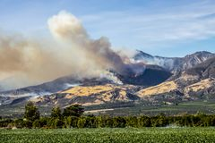 Thomas Fire Burns Above Fillmore in Ventura County California royalty free stock photo