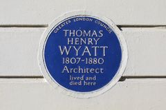 Thomas Henry Wyatt Plaque à Londres Photos libres de droits