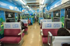 Thomas interior in Fujikyu Railway train, Japan. Fujikawaguchiko, Japan - November 9, 2015: Thomas and friends Interior of Fujikyu Railway train to transport stock image