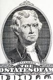 Thomas Jefferson close-up on the two U.S. dollar note. Royalty Free Stock Images