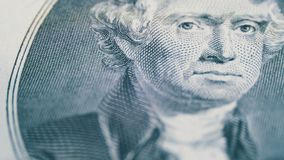 Thomas Jefferson Face de giro lento na nota de dólar dois video estoque