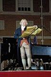 Thomas Jefferson leest Verklaring van Onafhankelijkheid stock afbeelding