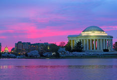 Thomas Jefferson Memorial at dawn during cherry blossom festival. Stock Photos