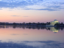 Thomas Jefferson Memorial at dawn. Thomas Jefferson Memorial magnificently lit at night during cherry blossom in Washington DC Stock Image