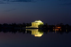 Thomas Jefferson Memorial at dawn. Thomas Jefferson Memorial in Washington DC magnificently lit at night Royalty Free Stock Images