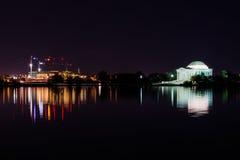 Thomas Jefferson Memorial Night Illuminated Evening Reflecting T Stock Image