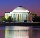 Thomas Jefferson Memorial at predawn in spring. Jefferson Memorial reflection in Tidal Basin waters Royalty Free Stock Photo