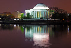 Thomas Jefferson Memorial at predawn in spring. Jefferson Memorial reflection in Tidal Basin waters Royalty Free Stock Image