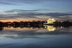 Thomas Jefferson Memorial Reflection Washington DC. Sunrise - December morning dawning on Jefferson Memorial situated adjacent to the Tidal Basin, a partially Stock Photo