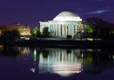 Thomas Jefferson Memorial before sunrise during cherry blossom festival in Washington DC, USA. Royalty Free Stock Image