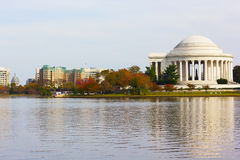Thomas Jefferson Memorial before sunset with reflection. Royalty Free Stock Photo