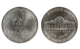 Thomas Jefferson nickel coin Stock Photo