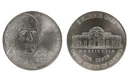Thomas Jefferson nickel coin. On white background Stock Photo