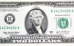 Thomas Jefferson sur deux dollars. Photographie stock libre de droits