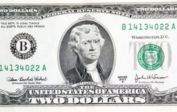 Thomas Jefferson on two dollars. Royalty Free Stock Photography