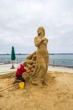 Thomas Koet. World Class Sand Sculpter Thomas Koet Sculpting Out Of Reach In San Diego, California, 2016 Stock Photos