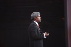 Thomas Kurian bildet Rede bei der OpenWorld Konferenz Lizenzfreies Stockfoto