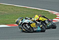 Thomas Lüthi and luis Salom in the circuit of Catalonia Royalty Free Stock Image