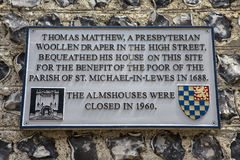 Thomas Matthew Plaque en Lewes photo libre de droits