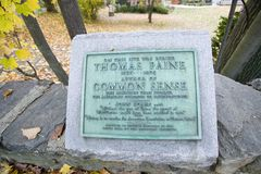 Thomas Paine jordfästningplats i New Rochelle, New York Royaltyfri Bild