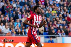 Thomas Partey plays at the La Liga match between RCD Espanyol and Atletico de Madrid Royalty Free Stock Photography