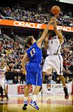 Men's CIS Basketball Finals. Thomas Scrubb (right) in action for the Carleton Ravens in their match against Lakehead Thunderwolves at Scotiabank Place, Ottawa on royalty free stock images