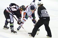 Thomas Spinell von Sport Renon Ritten und Adam Estoclet von HC Mailand während eines Spiels Lizenzfreie Stockfotografie
