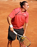 Thomas Tenconi. Italian tennis player, Thomas Tenconi, waiting to serve Royalty Free Stock Photo