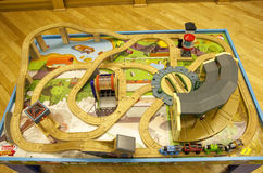 Thomas train table track set. A Thomas train table track set at the play area of Barnes and Noble bookstore downtown Seattle Stock Photos