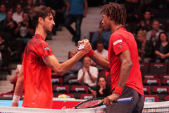 Thomaz Bellucci (BRA) and Gael Monfils (FRA) Royalty Free Stock Image