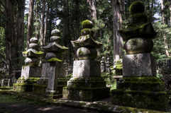 Thombstones at Okunoin cemetery, Koya san, Japan Stock Photography