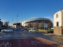 Thomond-Park ist ein Stadion - 11. Dezember 2017: Gefunden im Limerick in der irischen Provinz von Munster Lizenzfreie Stockfotografie