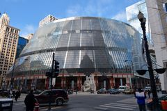 Thompson Center. This is a winter picture of the James R. Thompson Center in Chicago, Illinois.  The building was designed by Helmut Jahn, is an example of Royalty Free Stock Images