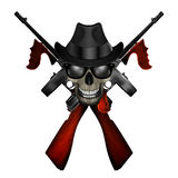 Thompson machine emblem with skull in hat Royalty Free Stock Photos