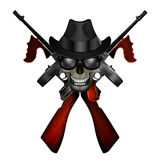 Thompson machine emblem with skull in hat Stock Image