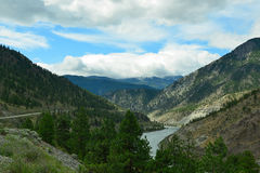 Thompson River Valley and Trans-Canada Highway, British Columbia Royalty Free Stock Photo