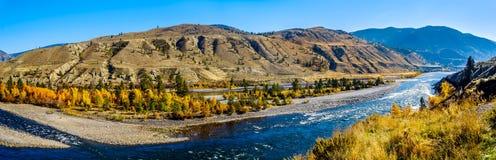 Thompson rzeka przy Spences mostem w Kanada BC fotografia royalty free