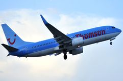 Thomson airlines takes elevation maniobre in flight Stock Images