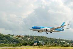 Thomson Airways TUI boeing aircraft landing in Montego Bay. Montego Bay, Jamaica - February 18 2015: Thomson Airways TUI boeing aircraft landing at the Sangster royalty free stock photo