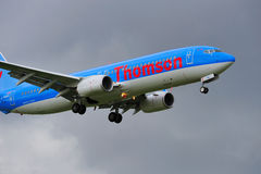 Thomson Boeing 737. Landing at Manchester Airport royalty free stock photography