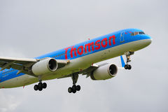 Thomson Boeing 757. Landing at Manchester Airport stock image
