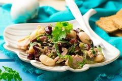 Thon, algue, et salade mélangée de légumineuse Photo libre de droits