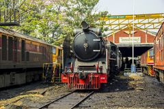 THON-BURI locomotive depot Place Storage and repair Steam locomotive of Thailand. THON-BURI Bangkok Noi Railway Station, Thailand -  Feb 15, 2018 : Steam Royalty Free Stock Photography