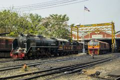 THON-BURI locomotive depot Place Storage and repair Steam locomotive of Thailand. THON-BURI Bangkok Noi Railway Station, Thailand - Feb 15, 2018 : Steam royalty free stock image