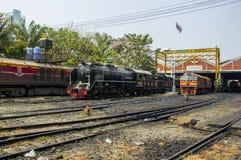THON-BURI zajezdni miejsca lokomotoryczny magazyn i remontowa Parowa lokomotywa Tajlandia zdjęcia stock