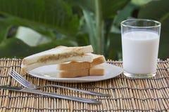 Thon de sandwich et lait frais Image libre de droits