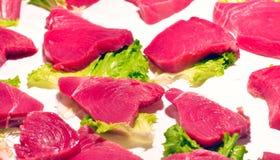 Thon frais de biftecks Photographie stock