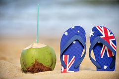 Thongs & coconut. Thongs with a coconut on the beach in Salvador de Bahia, Brazil Stock Photography