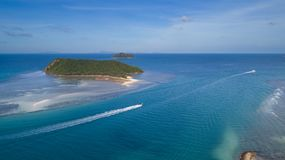 Thongsala海湾酸值Phangan鸟瞰图  免版税图库摄影