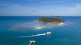 Thongsala海湾酸值Phangan鸟瞰图  库存照片
